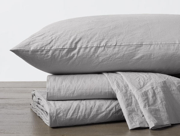 Pewter Organic Crinkled Percale Sheet Sets by Coyuchi | Fig Linens