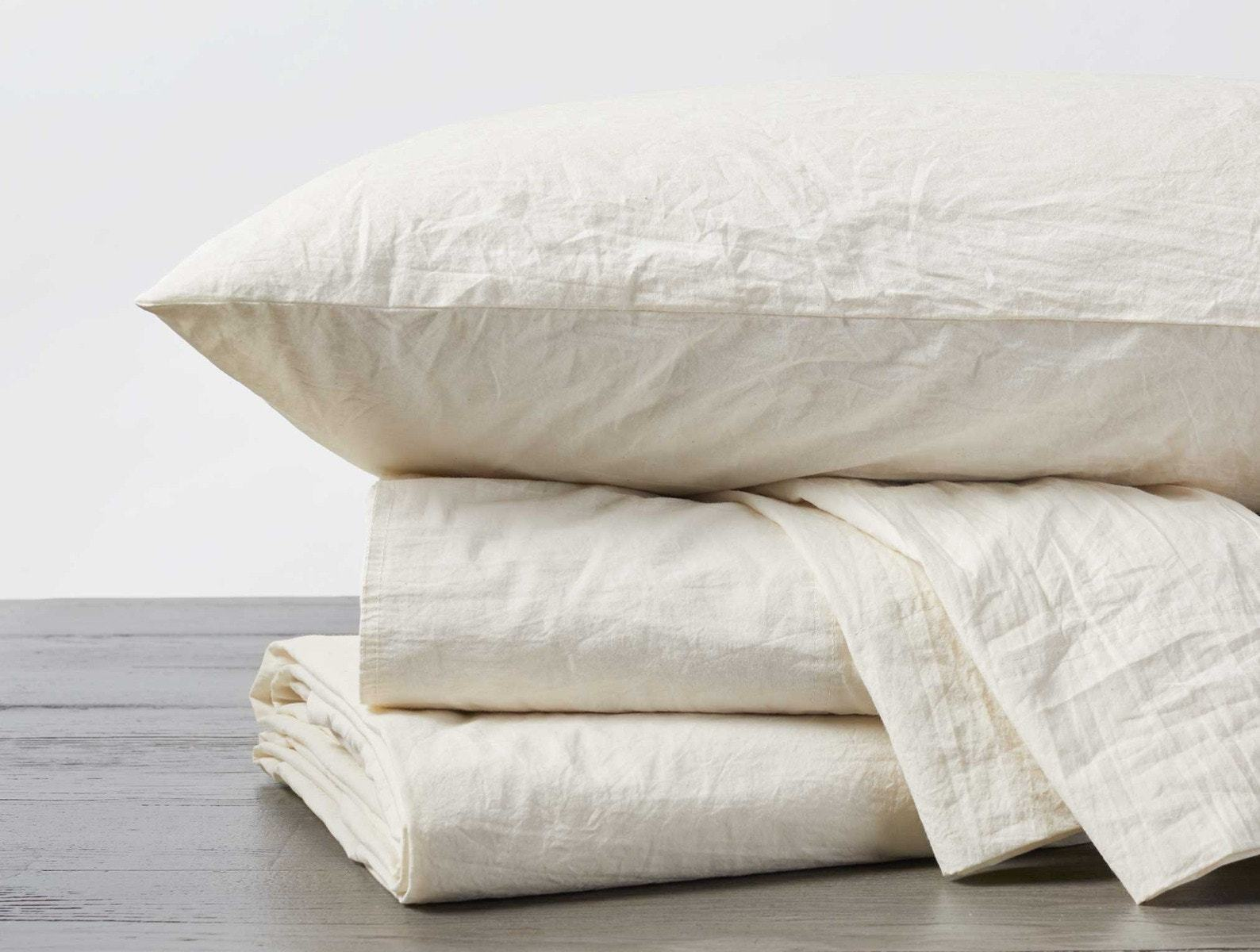 Undyed Organic Crinkled Percale Sheet Sets by Coyuchi