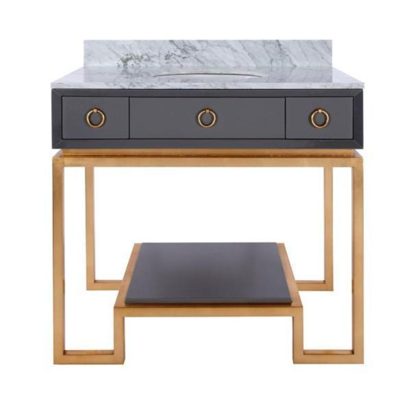 Owen Grey Lacquer and Gold Leaf Bath Vanity - Worlds Away - Fig Linens and Home