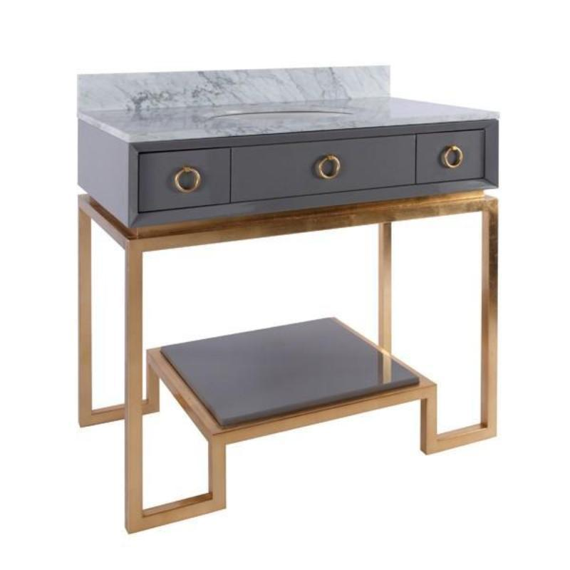 Owen Grey Lacquer Bath Vanity - Worlds Away - Fig Linens and Home