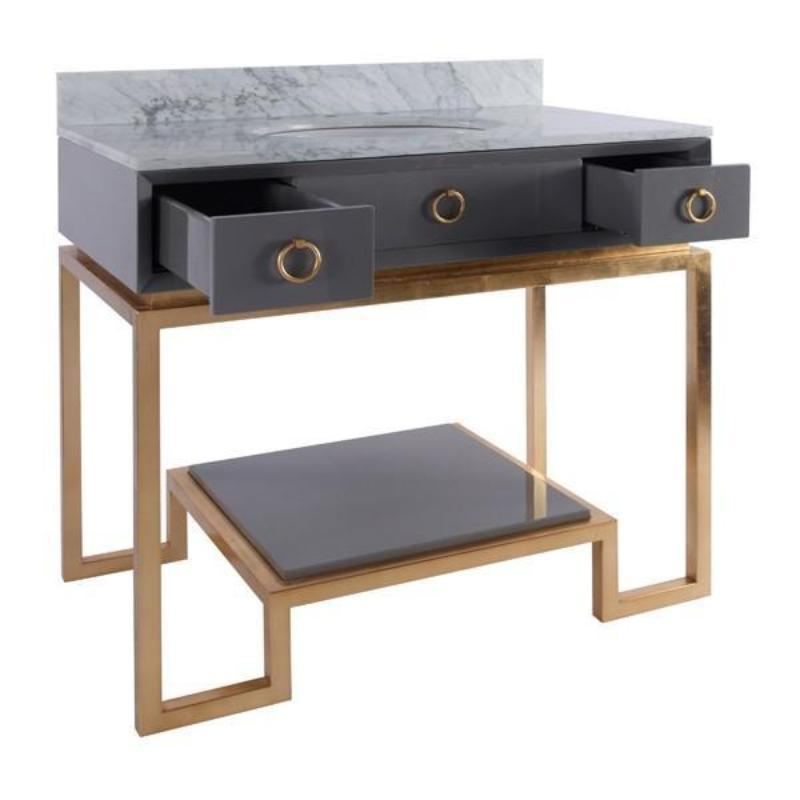 Owen Grey Lacquer Bath Vanity with Gold Leaf Finish - Worlds Away- Fig Linens and Home