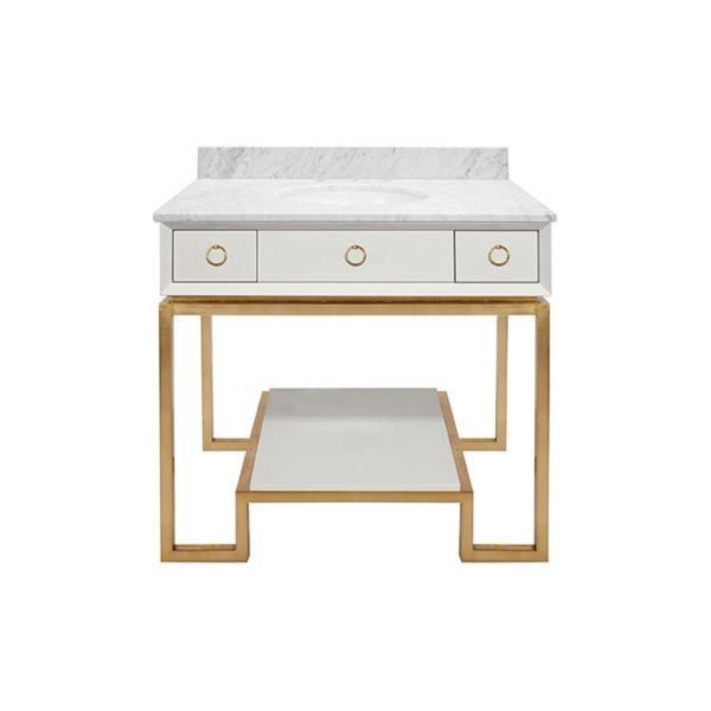 Owen White Lacquer Bath Vanity with gold leaf finishing and hardware- Worlds Away | Fig Linens