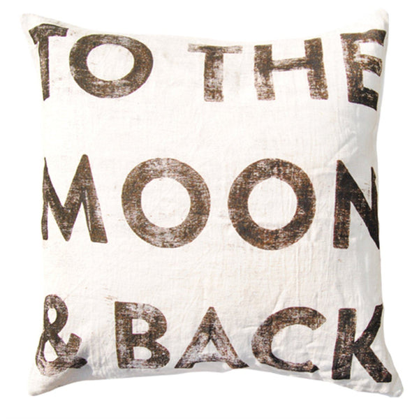 To the moon and back pillow - white with black - sugarboo
