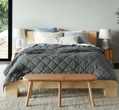 Fig Linens - Shadow Diamond Stitched Organic Cotton Comforter by Coyuchi - Lifestyle