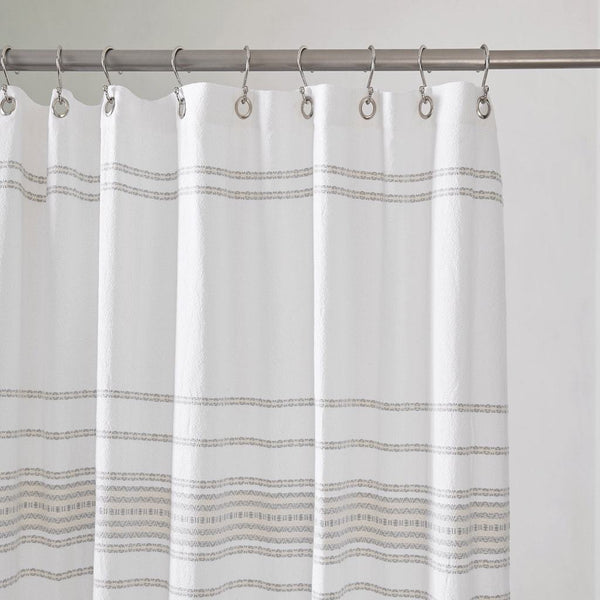 Coyuchi Rippled Stripe White and Gray Organic Shower Curtain | Fig Linens