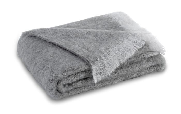 Brushed Mohair Throw Pewter by Lands Downunder