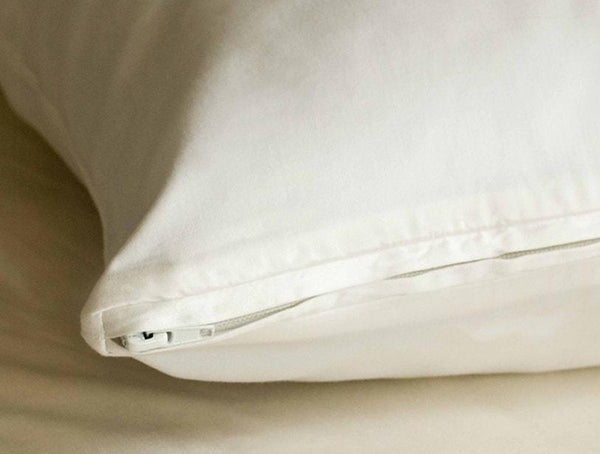 Coyuchi Organic White Pillow Protectors with zipper closure| Fig Linens
