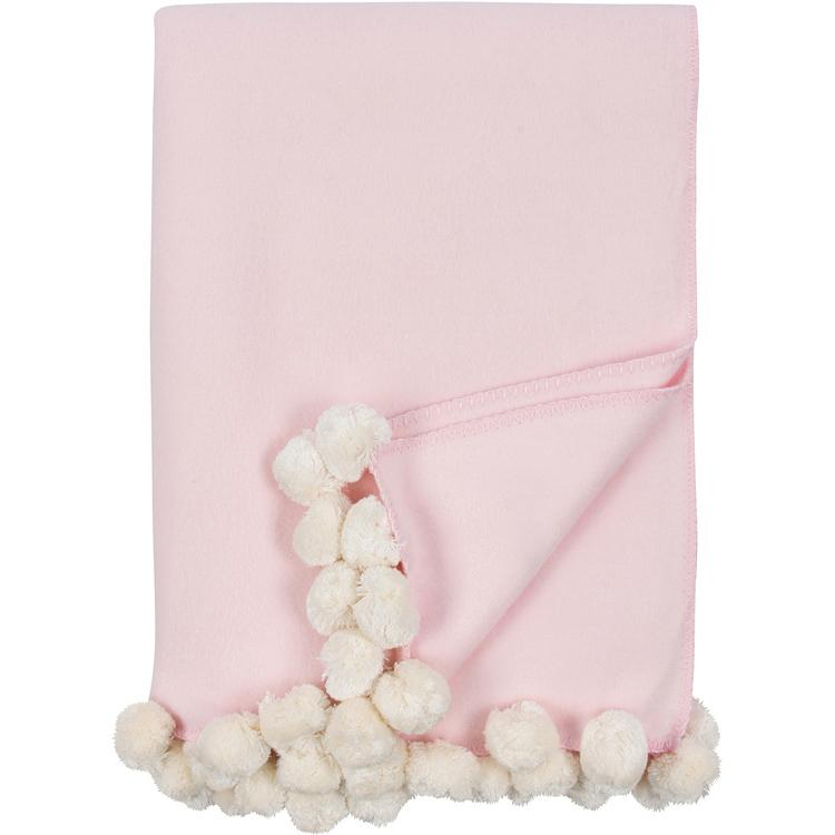Luxxe Pom Pom Throw in Pink and Ivory