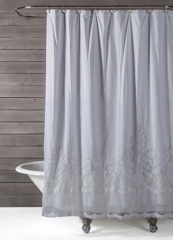 Fig Linens - Pom Pom at Home Caprice Shower Curtain - Unique Grey Shower Curtain