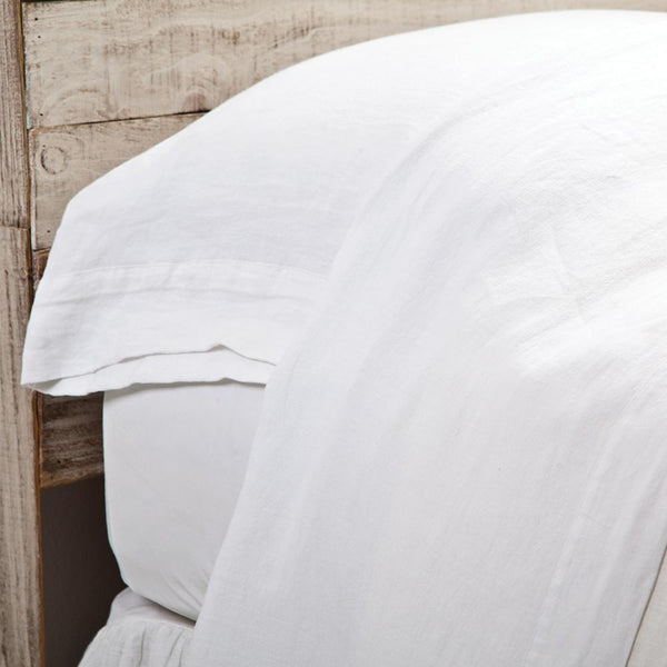 Fig Linens - Pom Pom at Home Bedding - White Linen sheets and pillowcases