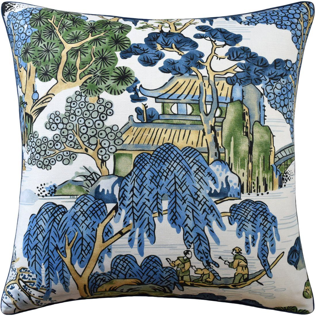 Asian Scenic Blue and Green Decorative Pillow Ryan Studio