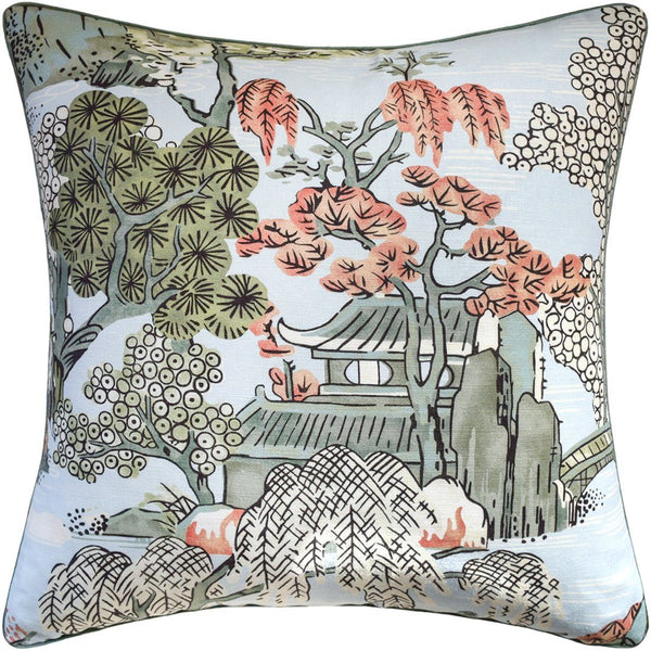 Asian Scenic Robin's Egg Decorative Pillow - Ryan Studio