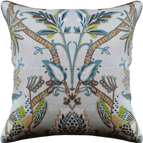 ryan studio peacock garden aqua pillow