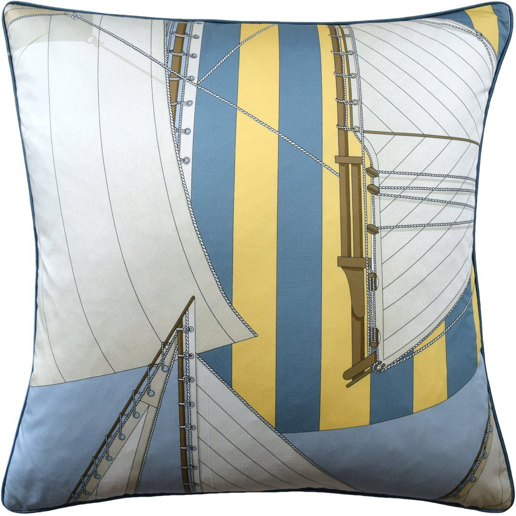 St. Tropez Blue & Yellow Pillow by Ryan Studio | Fig Linens | Lee Jofa