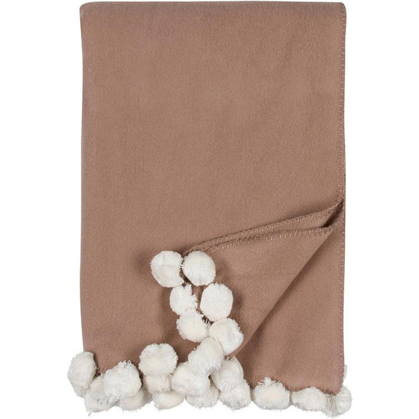 Luxxe Pom Pom Throw in Sand and Ivory by Malibu Luxxe