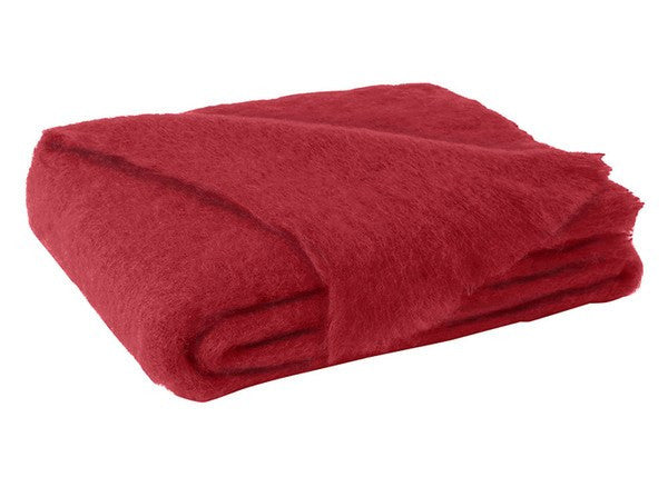 Brushed Mohair Throw Scarlet by Lands Downunder