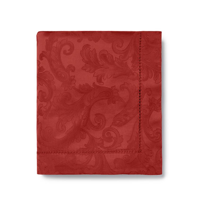 Acanthus Table Linen by Sferra elegant tablecloths, placemats and napkins fig linens garnet red