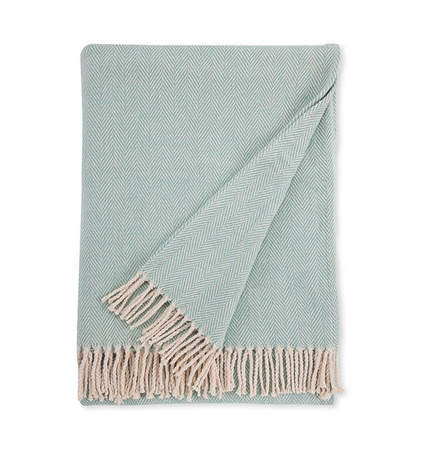 Sferra - Fig Linens - Aqua blue cotton throw with fringe