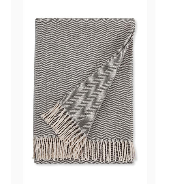 Sferra - Fig Linens - Charcoal gray cotton throw blanket with fringe