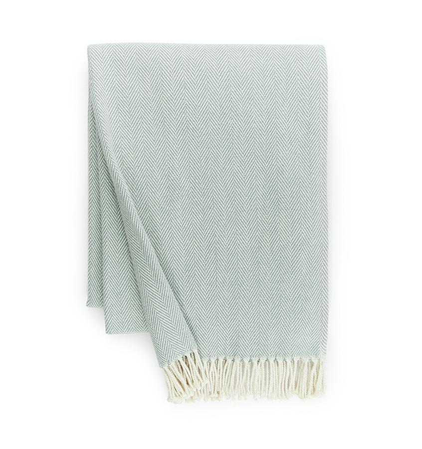 Fig Linens - Sferra Celine blue throw blanket with fringe