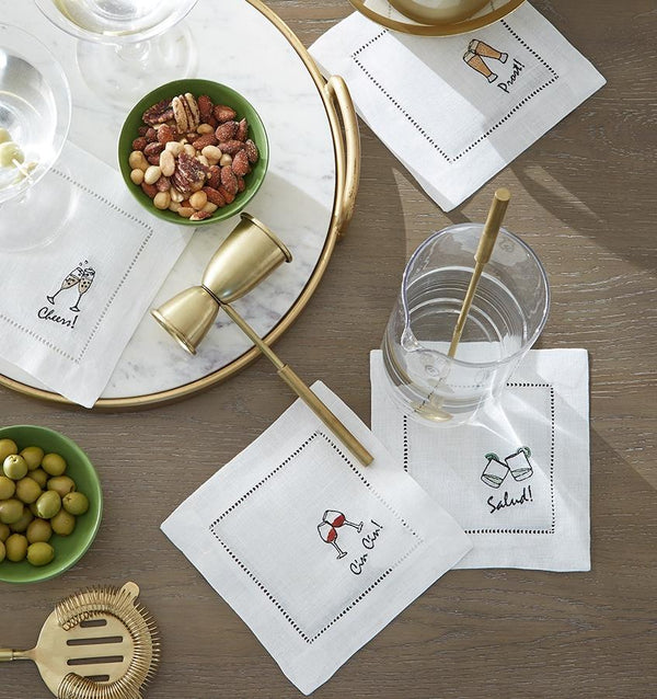 Cheers Cocktail Napkins by Sferra Fig Linens