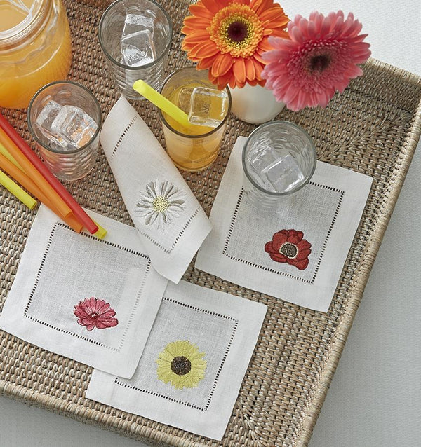 Fiori Embroidered Cocktail Napkins by Sferra Fig Linens
