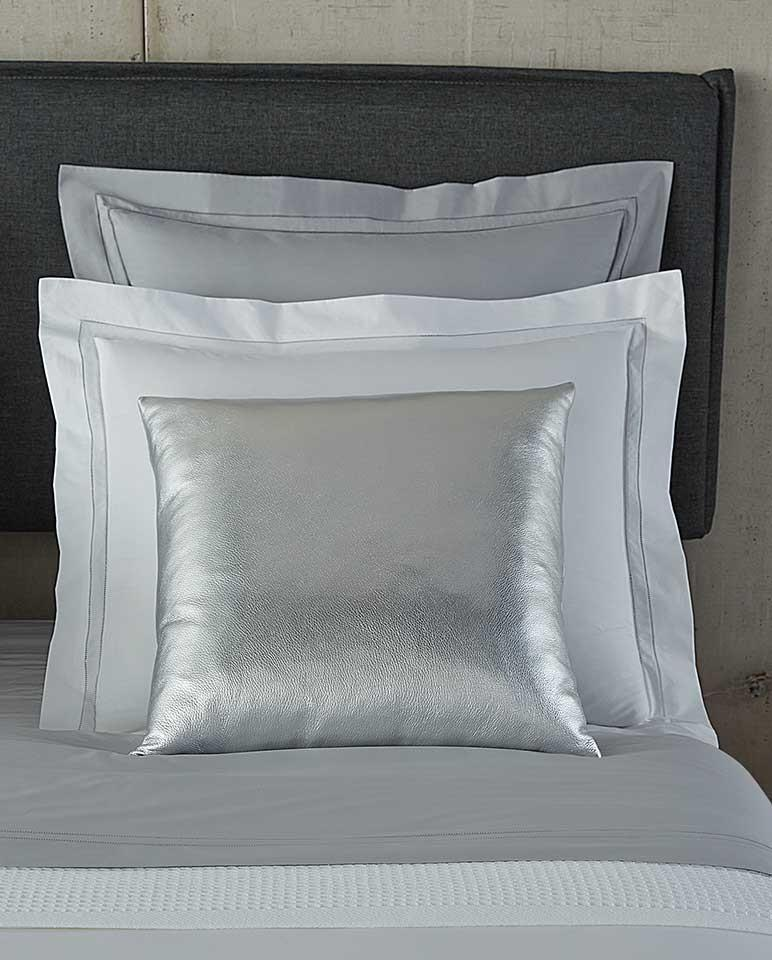 Satta Silver Decorative Throw Pillow by Sferra | Fig Linens - Silver pillow