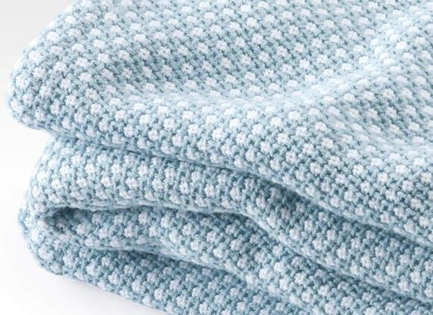 Fig Linens - Brahms Mount - Edgecomb Cotton Blanket - Shore Blue