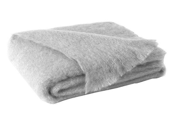 Brushed Mohair Throw Silver by Lands Downunder