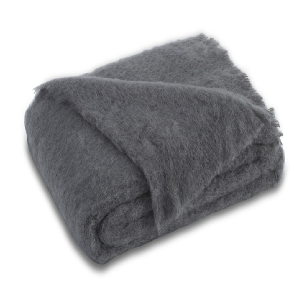Brushed Mohair Throw Slate by Lands Downunder