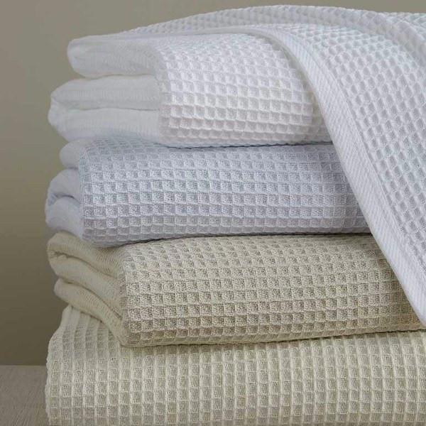 Kingston Blanket by Sferra - Cotton Waffle Bed Blankets - Fig Linens