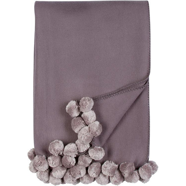 Luxxe Pom Pom Throw in Steel and Dove by Malibu Luxxe
