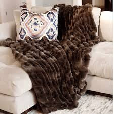 Taupe Mink Couture Faux Fur Throw Blanket