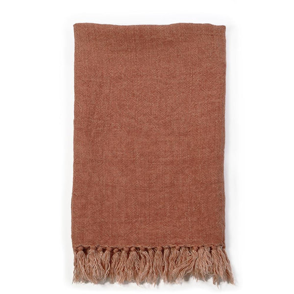 Pom Pom at Home - Montauk Terra Cotta Linen Blanket - Fig Linens