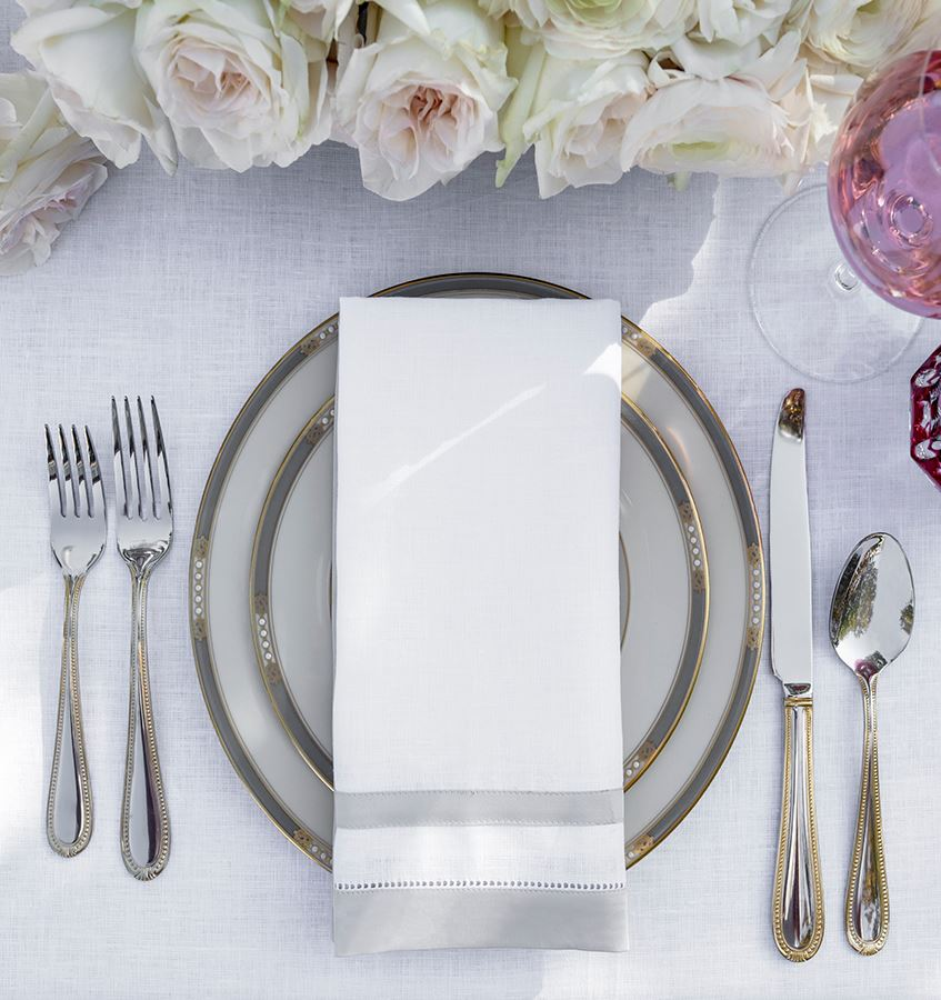 Fig Linens - Tipton White and Lunar Napkins by Sferra