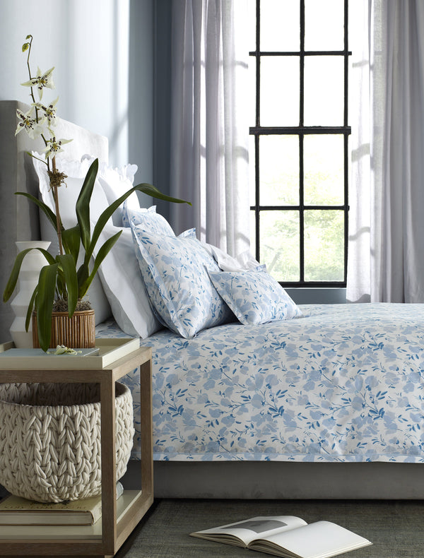 Matouk Alexandra Bed Linens on Bed- Fig Linens
