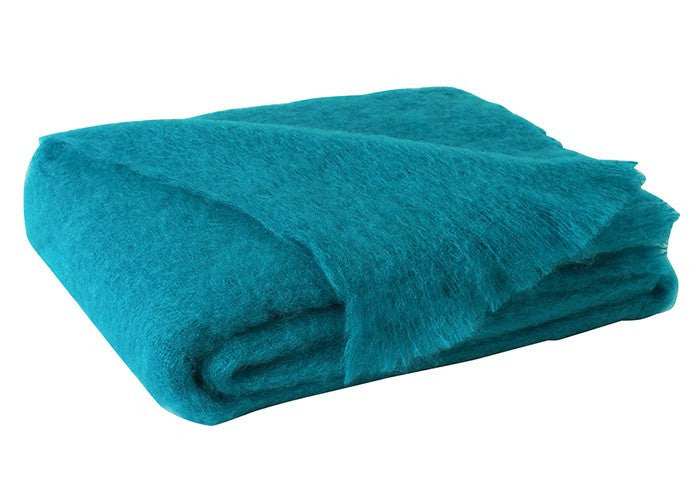 Brushed Mohair Throw Turquoise by Lands Downunder