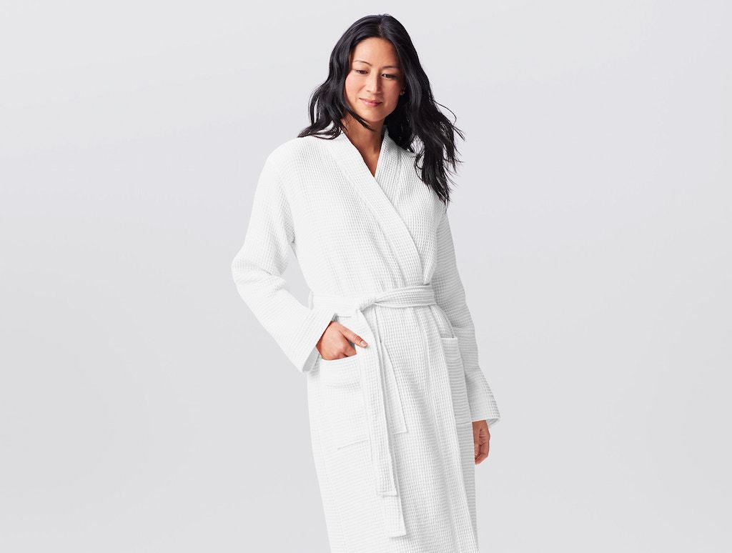 Unisex Organic Waffle Robes in White by Coyuchi | Fig Linens