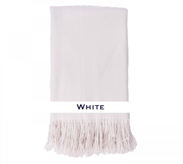 100% Cashmere Plain Weave Throw by Alashan white