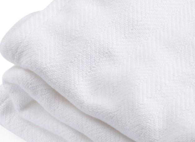 White Penobscot Herringbone Cotton Blanket by Brahms Mount | Fig Linens
