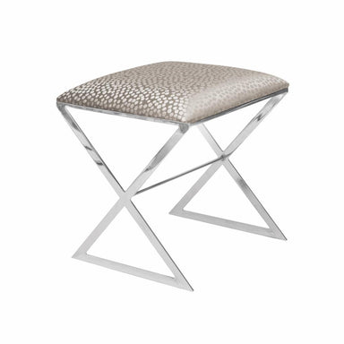 X Bench in Nickel with Silver Fabric | Worlds Away at Fig Linens