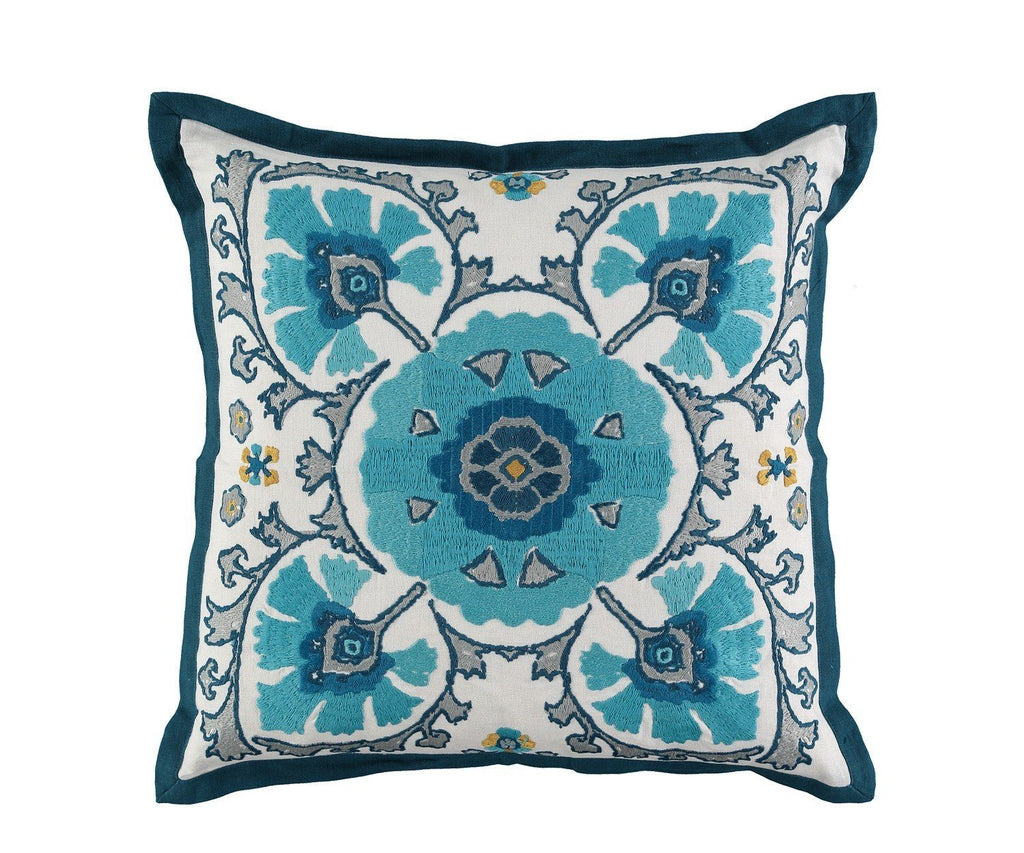 William Yeoward Alexi Peacock Decorative Pillow | Suzani Cushion