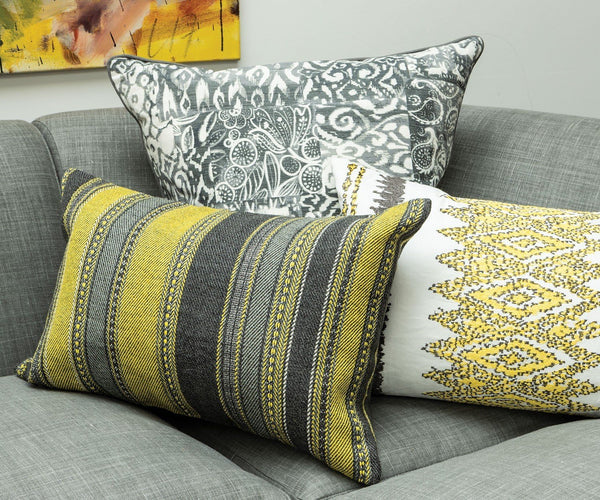 William Yeoward Alicia Citron Decorative Pillow shown on Sofa