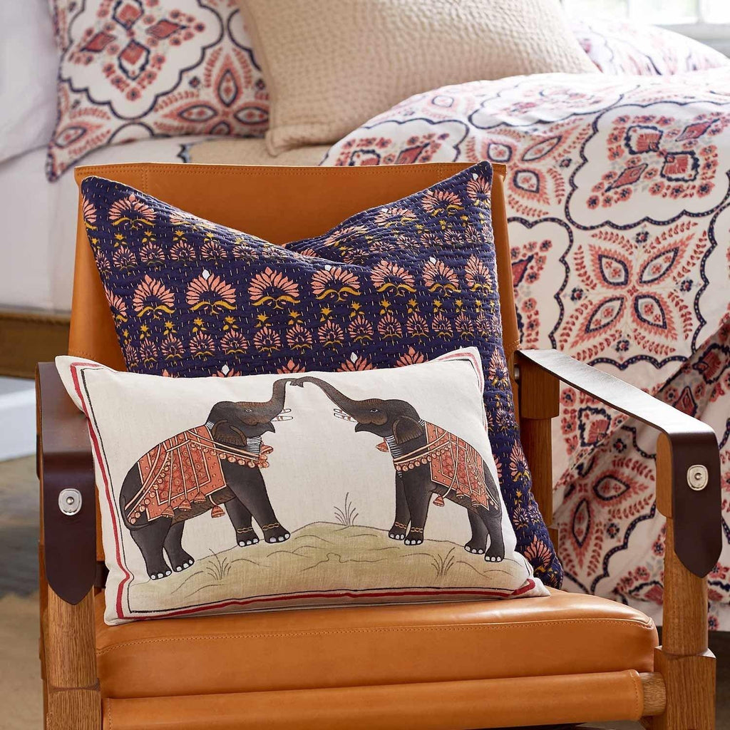 Two Elephants Decorative Pillow - john robshaw - lifestyle shot - fig linens