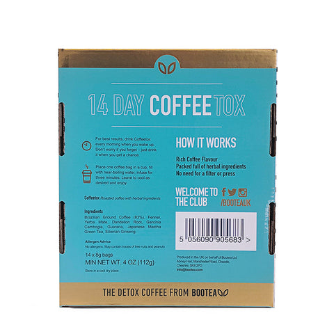 detox coffee back of box
