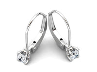Childrens jewelry for little girls and baby Celebration earrings 14k solid white gold lever
