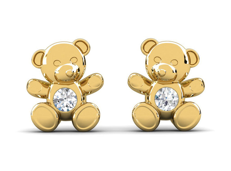 Childrens jewelry for little girls and baby Cuddle Bear earrings 14k solid gold