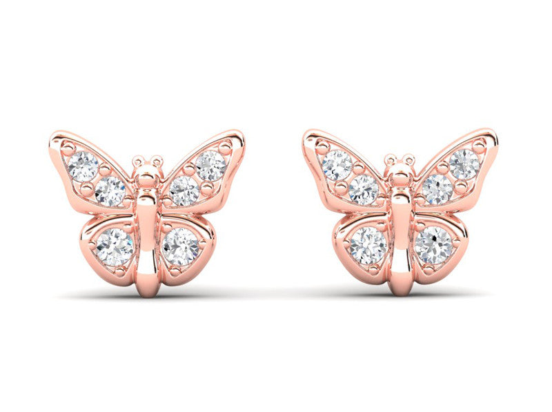 Childrens jewelry for little girls and baby Lady Butterfly earrings 14k solid gold