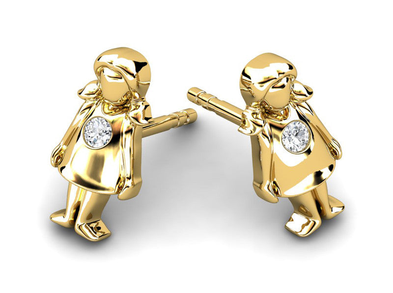 Childrens jewelry for little girls and baby Little Miss Sass earrings 14k solid gold