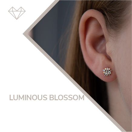 Luminous Blossom diamond earrings for girls jewelry